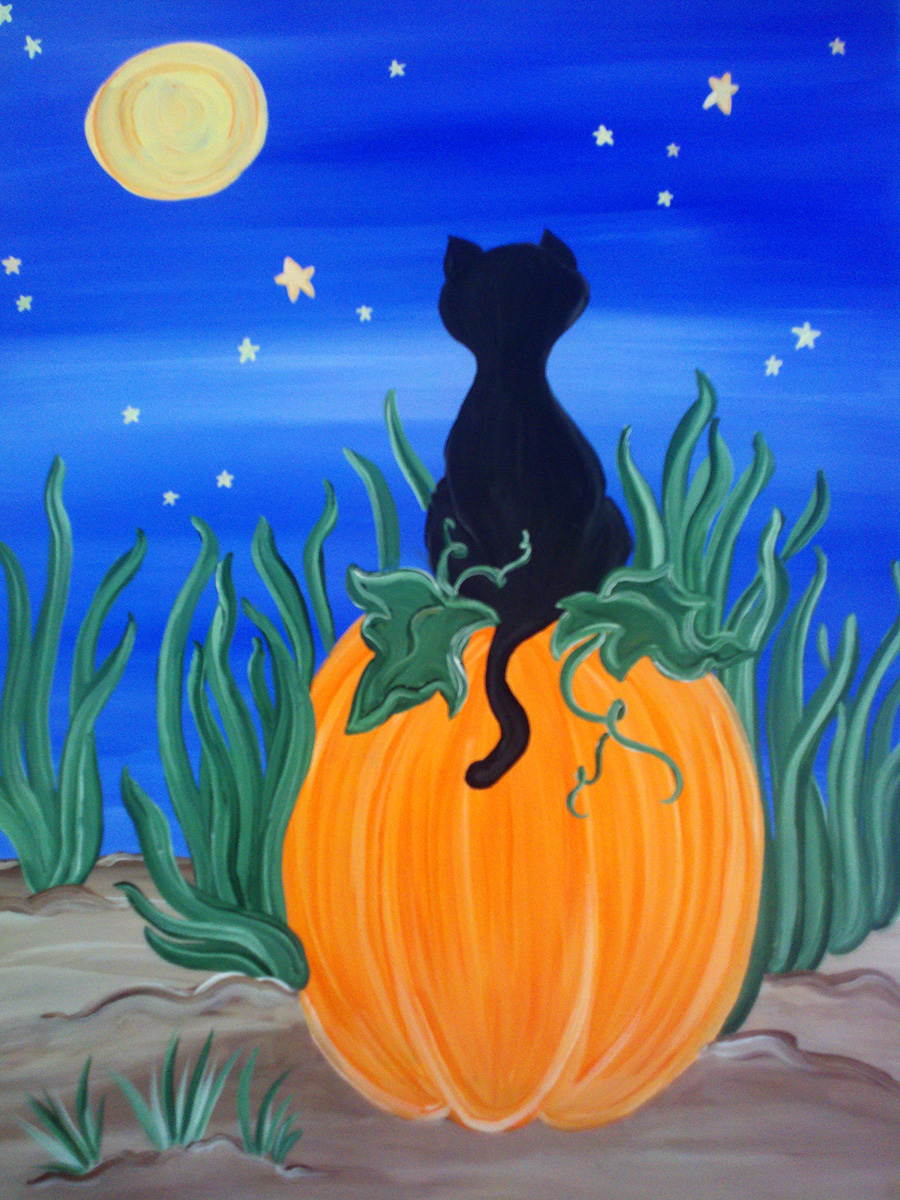 Cat on a Pumpkin